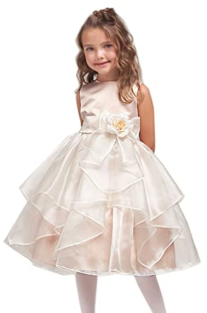 3e9071621fd Amazon.com  KID Collections Girls  Satin Sleeveless Flower Girl Dress   Clothing