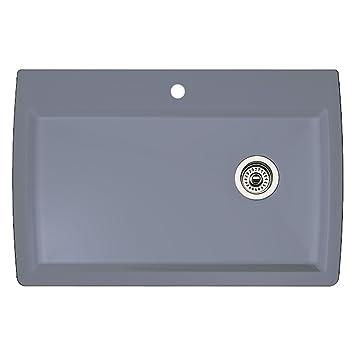 Marvelous Blanco 440193 Diamond Super Single Bowl Kitchen Sink, Metallic Gray Finish