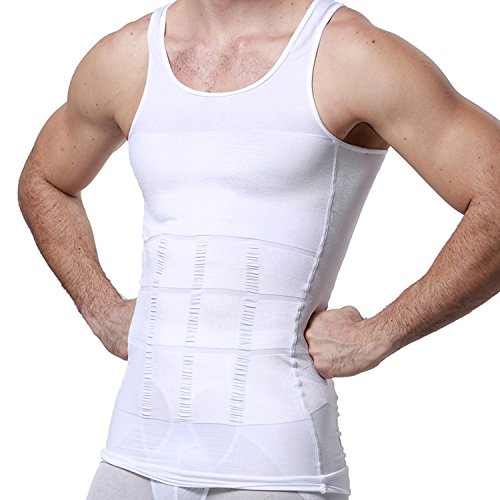 GKVK Mens Slimming Body Shaper Vest Shirt Abs Abdomen Slim, White, XL(chest size 106cm-110cm/42inches-44inches) (Body Image Wide)