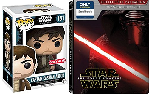 Star Wars Steelbook Blu Ray The Force Awakens Exclusive set with Funko Pop POP Star Wars: Rogue One - Captain Cassian Andor bobble head Figure