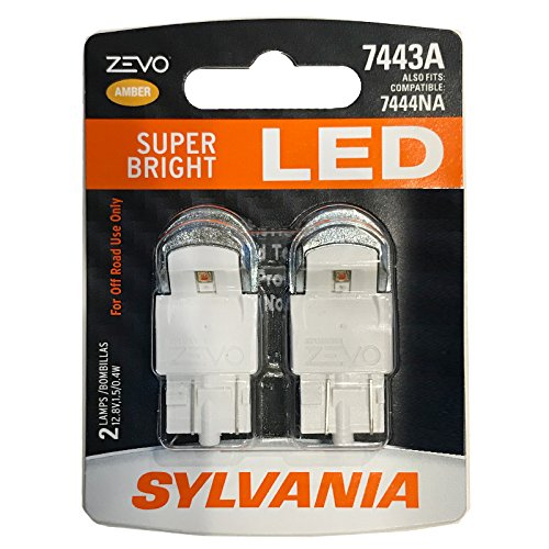SYLVANIA - 7443 T20 ZEVO LED Amber Bulb - Bright LED Bulb, Ideal for Park and Turn Signals (Contains 2 Bulbs)