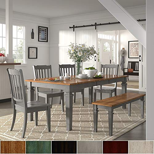 Inspire Q Elena Antique Grey Extendable Rectangular Dining Set - Slat Back by Classic Black 4 5-Piece Sets (Back Piece 5 Slat)