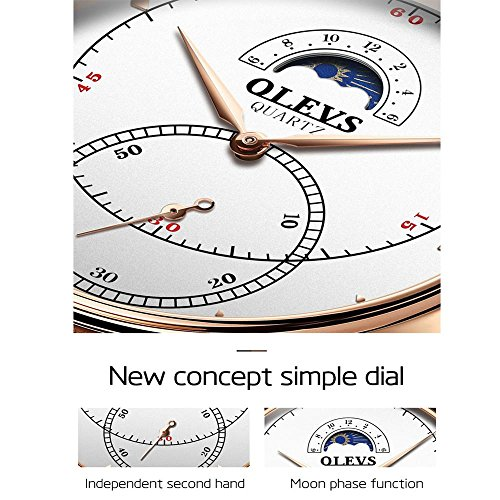Rose Gold Watches for Men,Brown Leather Watch Men Business Casual Wrist Watch,Fashion Japan Quartz Movement Watch with White Face,Men's 30m Waterproof Wrist Watches,Round White Dial by OLEVS (Image #6)