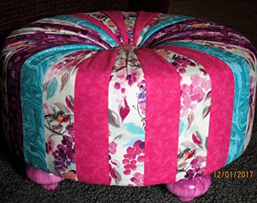 "18"" Handmade Round Pink Aqua Purple Floral Bird Tuffet"