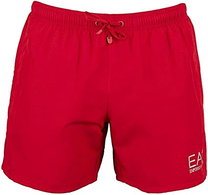 Emporio Armani Ea7 Natación Pantalones Cortos De Hombres, Rojo/plata