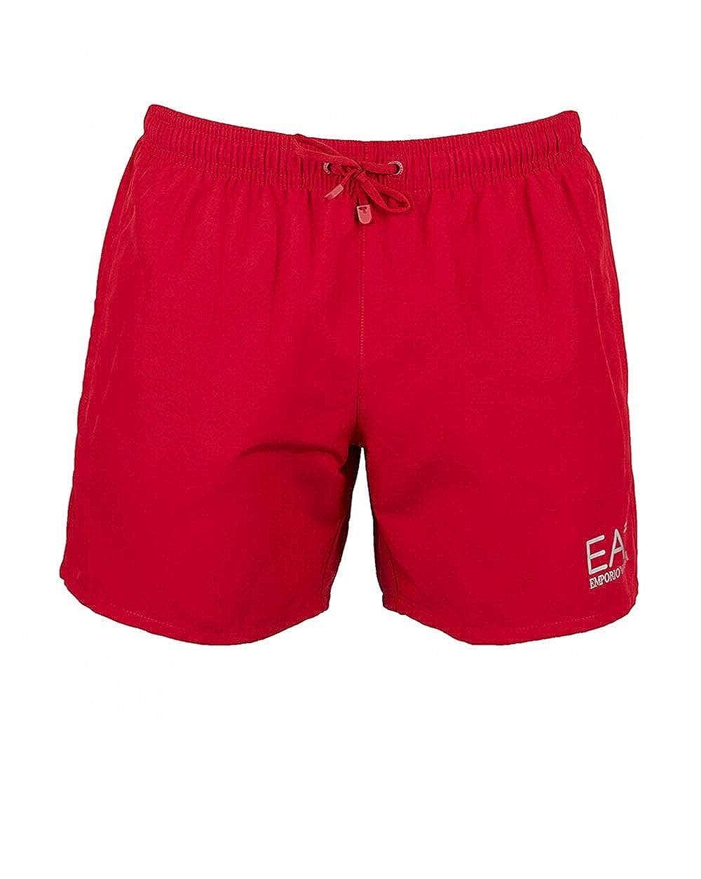 TALLA L. Emporio Armani Ea7 Natación Pantalones Cortos De Hombres, Rojo/plata