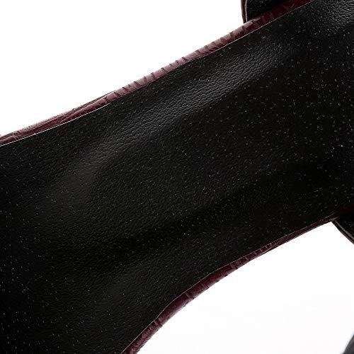 Burdeos Sólido Gmxlb010207 Sintético Mujeres Hebilla De Con Sandalias Agoolar Vestir qRzAwpT