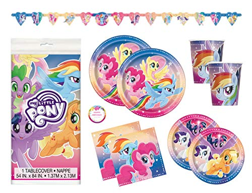 Rainbow Dash Party Supplies (My Little Pony Birthday Party Supplies Set - Plates, Cups, Napkins, Tablecloth, Banner Decoration and)