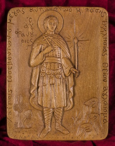 Saint Phanourios Fanourios Hand-carved Aromatic Greek Christian Orthodox Icon Plaque Made with Pure Beeswax, Mastic and Incense From Mount Athos