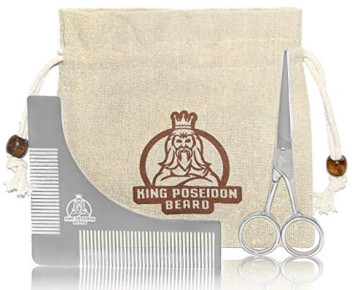 KING POSEIDON 4.9'' Beard Mustache Scissors With Comb Beard Shaping Tool, Equipped With Sharp Blades For Precise Cut, Beard Shaper Template, Premium Grooming Kit For Men