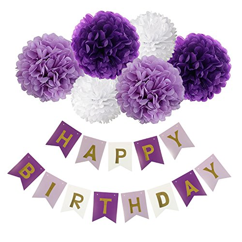 [Happy Birthday Banner Bunting Kit, Wartoon Paper Pom Poms flowers Ball with Hanging Party Decorations Banner flags for Birthday Party Decorations - ( Purple, Lavender and White )] (Happy Birthday Party Kit)