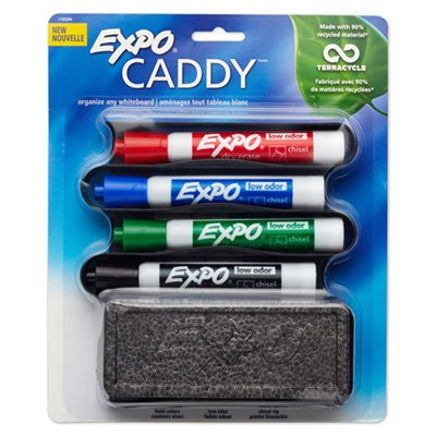 Mountable Whiteboard Caddy, With 4 Markers/Eraser, Set, Sold as 4 Each