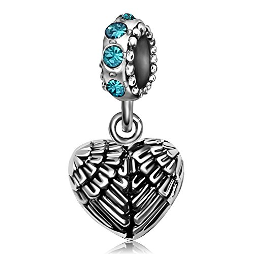 (JMQJewelry Angel Wings Heart Guardian Pendant Feathers Valentine's Day Charms For Bracelets Necklace )