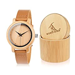 This handmade bamboo wooden watch is equipped with high quality Japan quartz movement. Diameter of the men's watch face 1.7 inches (4.5cm). We have a smaller women version about 1.38 inches(3.5cm).Bobobird wooden watch strap is made of genuin...