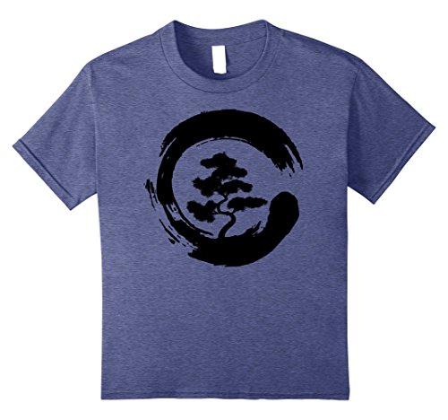 10 Heather (Kids Bonsai Tree in Enso Circle | Japanese Zen T-Shirt gift 10 Heather Blue)