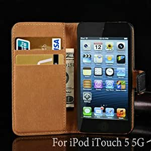 Genuine Leather Wallet with Stand Case For Apple iPod iTouch 5 5G Phone Bag Cover Luxury Business Style 10 pcs/lot --- Color:random colors