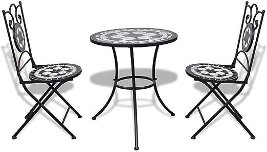 xings huoon Line Jardín Jardín Bistro – Juego de Mesa de sillas de Mosaico 60 cm Blanco y Negro Muebles de Jardín Set: Amazon.es: Jardín