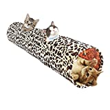 go2buy Long Cat Toys Collapsible Tunnel Leopard Print For Cat Rabbits Dogs 2 Holes Length 49.2'' Diameter 10.2''