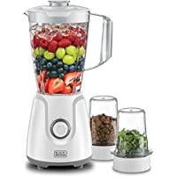 Black+Decker 400W Blender With Grinder Mill & Chopper Mill, White - BX4000-B5, 2 Years Warranty