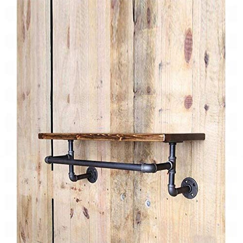 PLLP Vintage Old Industrial Wrought Iron Plumbing Shelf Wall Hanging Rack Shoe Rack Wine Rack Wall Solid Wood Laminate Shelf Hanger, 40202Cm,As Show,One Size