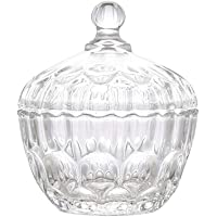 Glass Candy Dish With Lid Decorative Candy Bowl,Crystal Covered Storage Jar,Set Of 1