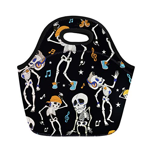 Semtomn Lunch Bags Blue Costume Dancing Skeletons Party Halloween Music Disco Isla Neoprene Lunch Bag Lunchbox Tote Bag Portable Picnic Bag Cooler Bag -