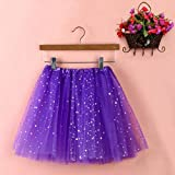 Sinwo Womens Girl Cute Pleated Gauze Short Skirt Adult Tutu Dancing Skirt Basic Skirt (Purple)