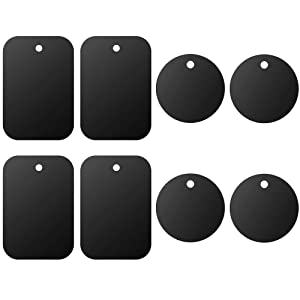 Universal Metal Plate 8 Pack for Magnetic Phone Car Mount Holder Cradle with Adhesive (Compatible with Magnetic Mounts) - 4 Rectangle and 4 Round, Black