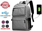 High School College Cool Fashion Unisex Outdoor Heavy Duty Laptop Backpack Bag With Charging USB Port For Running, Hiking, Sports, Jungle, Camping, Cycling & Fishing, Men & Women (Gray)
