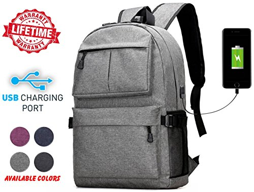 High School College Cool Fashion Unisex Outdoor Heavy Duty Laptop Backpack Bag With Charging Usb Port For Running  Hiking  Sports  Jungle  Camping  Cycling   Fishing  Men   Women  Gray