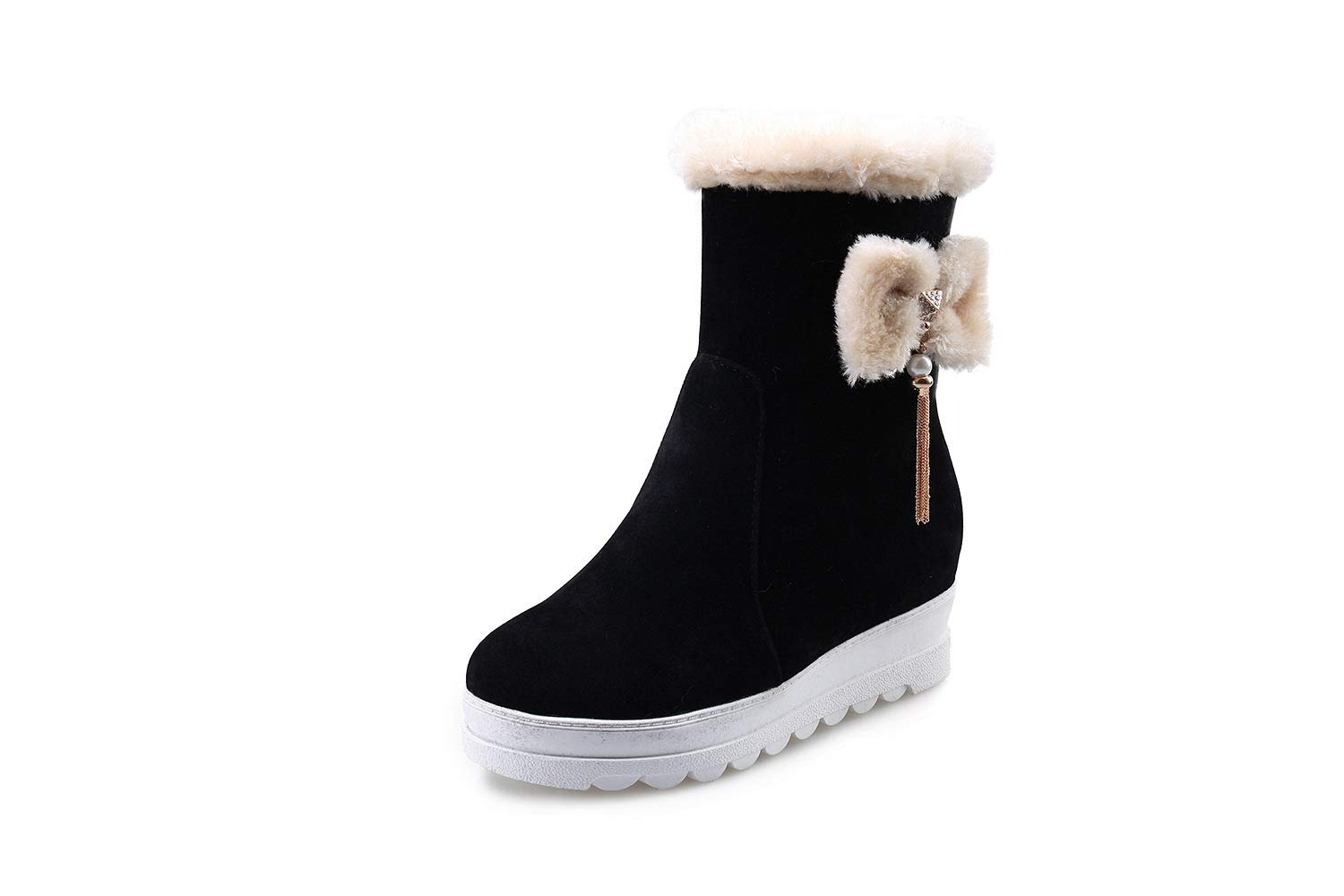 DETAIWIN Women Classic Ankle Boots Suede Fur Lined Slip On Warm Outdoor Winter Snow Boots