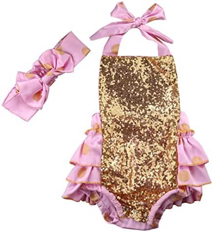 Baby Romper Boutique Bodysuit Onesie Gold Pokia Dot Ruffles Dress With Hairband