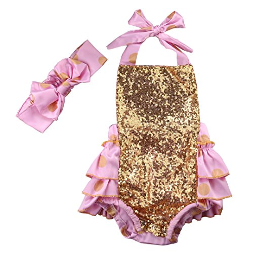 Baby Novelty Romper Boutique Bodysuit Onesie Gold Pokia Dot Sequin Ruffles Dress With Hairband (90(12-18months))