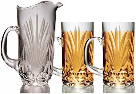 Amazon Com Gac Elegant Mouth Blown Crystal Water Pitcher With Spout 32oz Capacity Carafes Pitchers