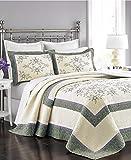 MARTHA STEWART - Valencia Eyelet Ivory & Purple Bedspread: TWIN