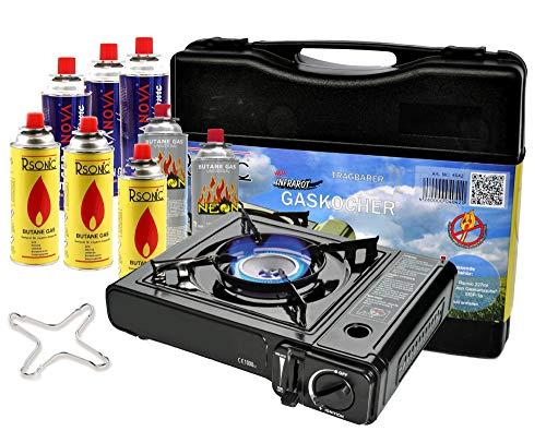 Portable Campingkocher 2,3 KW Gaskocher mit 8 Gaskartuschen + Grillplatte Grillaufsatz + Phönix PH-K01 Gasherdkreuz…