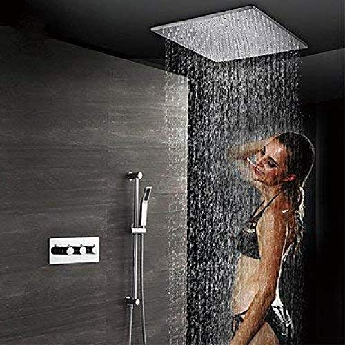 UYKIKUI Contemporary Wall Mounted Rain Shower Handshower Included Thermostatic Ceramic Valve Three Handles Four Holes Chrome, Shower Faucet