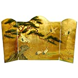Oriental Furniture Asian 54-Inch Ming Design Chinese Lacquered Oriental Fireplace Screen, Gold Leaf