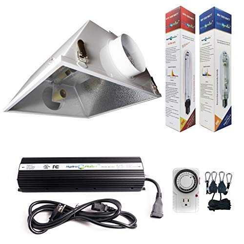 Hydroplanet&Trade; 1000W Horticulture Air Cooled Hood Set Grow Lights Reflector Digital Dimmable Ballast HPS MH System for Plant Grow Light Kit (1000w)