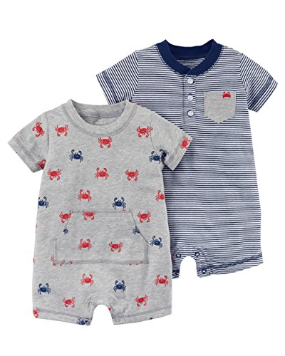 Carter's Baby Boy's 2 Pack Cotton Romper Creeper Set (12 Months), Blue, Grey