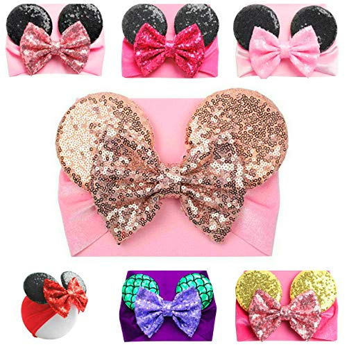 Mouse Ears Headband/Headwrap - Toddler, Baby, Kids - Party supplies (08 - Pink-3 Rose Gold Bow and Ears) (Baby Rose Headband)