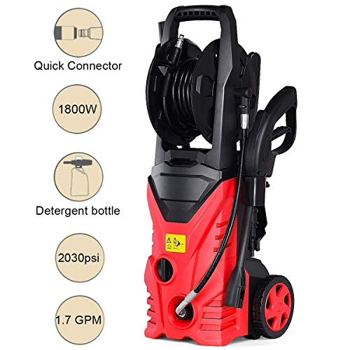 Goplus Electric High Pressure Washer 2030PSI 1.6GPM 1800W Power Pressure Washer Machine w/High Pressure Hose and Wash Brush (Red)