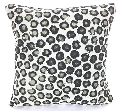 - Designer Pillow Cover Tan Black Gray Basketweave Cushions Leopard Print Animal Print Heavy Weight Flax Sofa Bed Pillow Various Sizes
