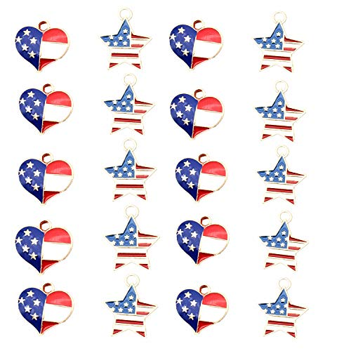 20Pcs Red White and Blue American Flag Star Heart Shaped Charm Pendant Gold Plated Dainty Ornament Synthetic Glass Living Memory Jewelry Making Independence Day Decoration (red White and -