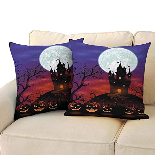 Personalized Pillowcase Halloween Gothic Haunted House Castle Hill Valley Night Sky October Festival Theme Print Soft and Breathable W 24