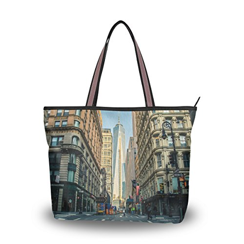 Women's Designer Handbags Fashion Big Canvas Washable Tote Bags Shoulder Bag Top-handle Bag with World Trade Center In Manhattan for Shopping Travel - Centers In Manhattan Shopping