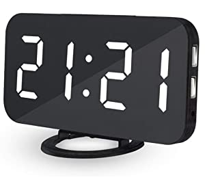 WMGS Ultra Thin Modern Snooze and Time Setting LED Digital Decorate Alarm Clock With Phone Charger For Home Decor (WHITE)
