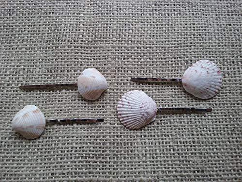 3 x Real Sea Shell Hair Clips Bobby Pins Ivory White Silver Mermaid Bridal T07