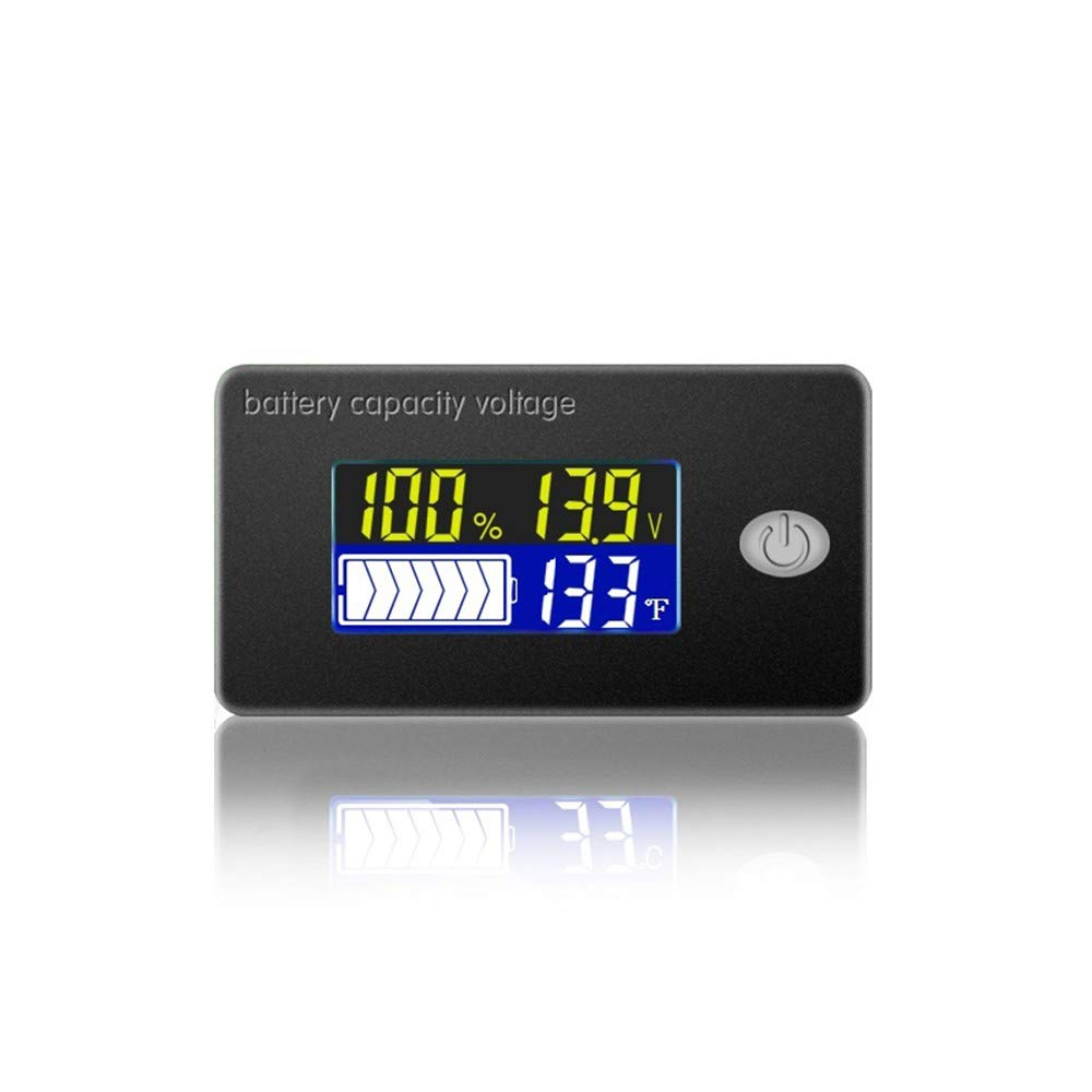 CPTDCL 4 in 1 Lead Acid Battery Capacity Meter Voltmeter Thermometer Battery Fuel Gauge Indicator Voltage Monitor 12V