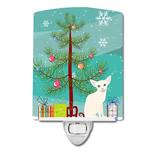 Caroline's Treasures Foreign White Cat Merry Christmas Tree Ceramic Night Light, 6 x 4
